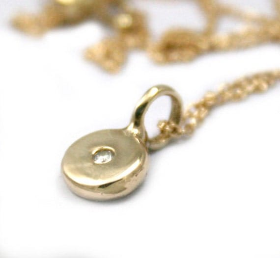 Gold Necklace With Coin Pendant, Diamond Charm Necklace, Coin Charm, Diamond Necklace, Tula Jewelry.