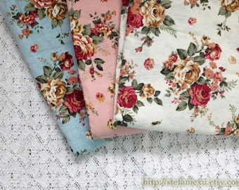 Retro Shabby Chic Wild Rose Garden, Three Colors To Choose- Linen Cotton Blended Fabric (1/2 Yard)