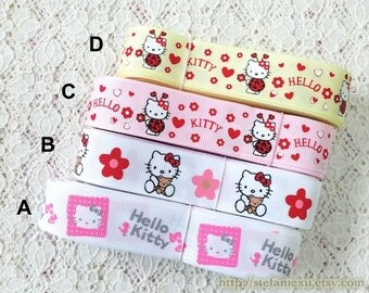 Grosgrain Gift Ribbon - Printed Pink Flower Heart Ladybug Teddy Bear Hello Kitty Collection, Choose Pattern (1 Yard, W2.2CM)