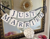 Just Married Wedding Banner - Ready to Ship Today - Navy Blue on White