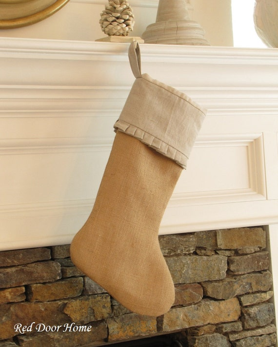 Burlap linen christmas stocking cuff with ruffle by reddoorhome