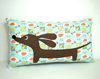 Dachshund Pillow - Doxie and Whimsical Bird Friends Rectangle Pillow - Whimsical Home Decor Aqua