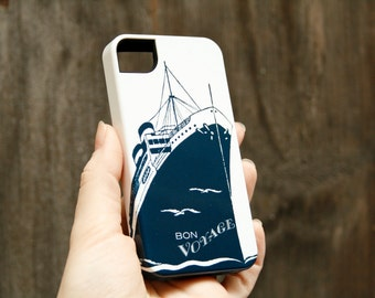 Retro Nautical iPhone Case - Bon Voyage iPhone 6 Case, iPhone 5S, Samsung Galaxy S6, ,  Case iPhone 6 Plus Case