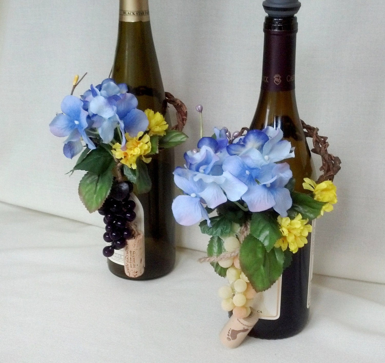 Blue Wine Bottle Toppers set of 2