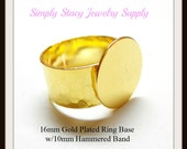 Gold Plated Adjustable Ring Bases with 16mm Glue Pad and Hammered Band - 1 piece