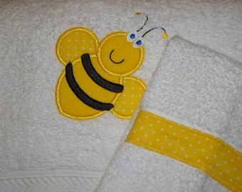 Custom Embroidered, Personalized Towel Set with Bumblebee