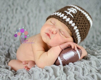 Football Crochet Hat  Photo Prop