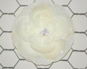 Beautiful Ivory Hair Flower Rose Hair Flower with Jewel Center and Layers of Tulle