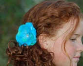 Beautiful Turquoise and Green Rose Hair Flower with Rhinestone Cluster Center and Layers of Tulle