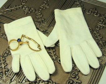Vintage White Gloves with Royal Blue Crystal Glove Clip
