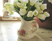 Vintage Ceramic Pitcher - White Floral Country Vase Decor - Romantic Prairie Farmhouse Decor
