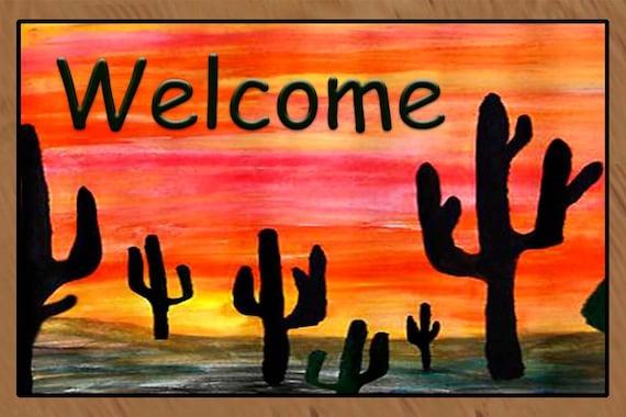 Welcome Cactus Desert Area Rug Indoor Outdoor Area Rug Floor
