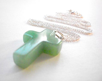 Aventurine cross necklace, green gemstone Christian pendant necklace, silver chain religious jewelry