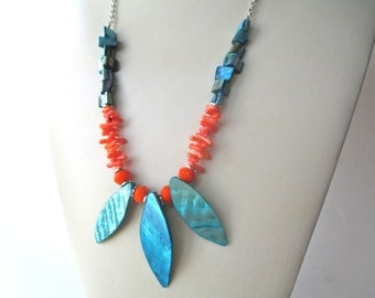 Coral teal long chain shell necklace,  silver chain, teal mother of pearl MOP shell, and genuine orange coral branch beads
