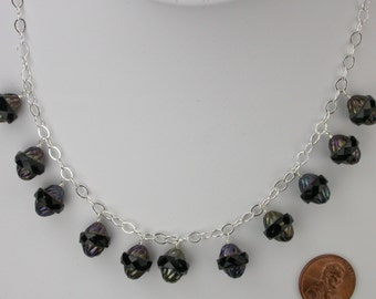 Black Czech Oval Line Necklace and Earring Set