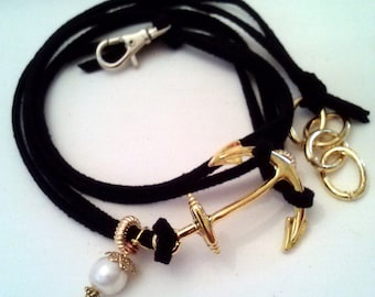 Black suede wrap bracelet  - gold anchor charm - pearl - gold beads