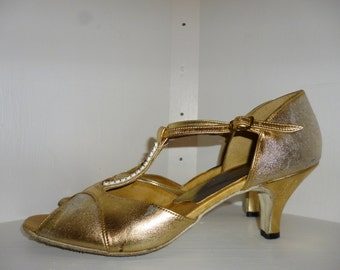Vintage 60's - Bill Rowe's BDS - Leather - Gold/Silver Lame - Peep Toe - T-Strap - Soft Suede Sole - Ballroom Dance Shoes - Size US 8 1/2 N