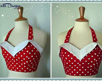 Swell Dame 1950s vintage style polka dot bustier top, made to order