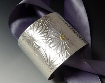 Super woman Wide Sterling silver floral cuff with gold accents