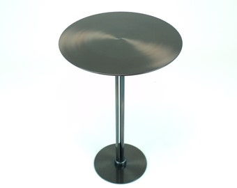 Patinated Steel Side Table, brown-ish gray-ish blue-ish with red accent
