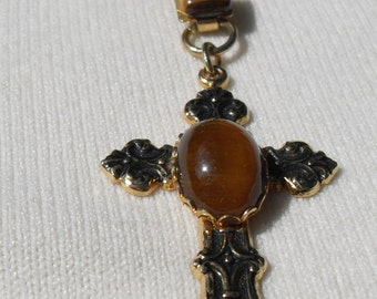 Three Vintage Pieces of Tiger Eye jewelry including a Cross Pendant and Necklace with Vintage Gold Colored Chain Great Repurposed Pieces