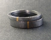 Modern Wedding Band Ring Set of Two, Silver, 14k Yellow Gold, Raw, Rough, Rustic Hammered Edge Gold Line Stripe
