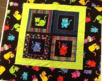 SALE!  COOL CATS Handmade Baby Quilt - Lovie - Cuddle Blanket - 29 x 29