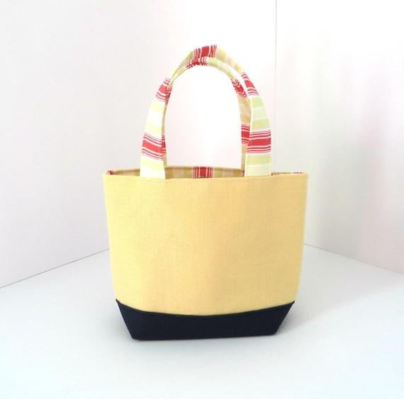 Nautical Purse, Organic Yellow Linen & Navy Itty Bitty Bag