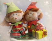 Christmas Cake Topper Winter Santa's elves Ornament Felt Sculpture - Wedding Elf pair for Xmas keepsake softie - Hand Made in France