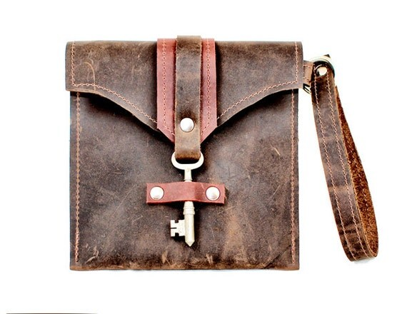 leather wristlet mini purse - leather clutch bag - small distressed leather pouch steampunk skeleton key two toned  wallet