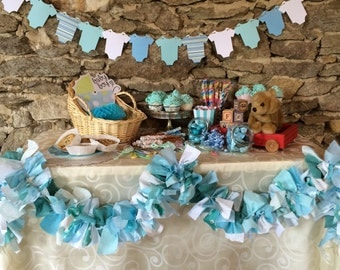 Turquoise Fabric Garland, Teal Blue Fabric Banner for Baby Showers, Aqua Party Decoration, Candy Buffet, Photo Backdrop, 6 feet, Handmade