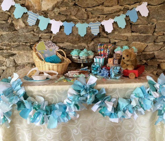 Baby Shower Supplies. Teal Blue Shower Garland, Fabric backdrop for Baby Showers, Birthdays, Party Decoration, Candy Buffet, 6 ft