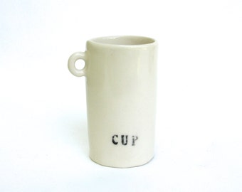 hand built porcelain cup  ...  petite demitasse mug