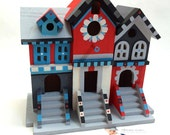 Wow! Beautiful Black, White and Red Brownstone Birdhouse, Wooden Bird Mansion, Custom Hand Painted by Vibrant Trains