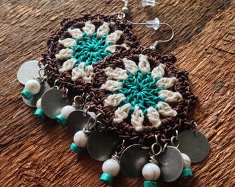Bohemian Gypsy Chandelier Earrings in Brown, Cream and Teal
