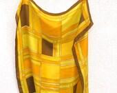 Vintage Silk Scarf Hand Rolled Echo Gold Yellow Mustard Brown Geometric Fashion Accessory 26 inch