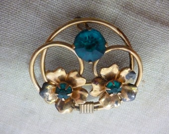 Vintage Signed LINC 12K GF Flowers & Loops Brooch with Aqua Stones