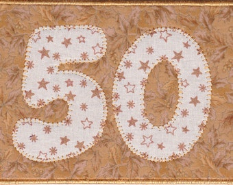 Golden Anniversary Quilted Fabric Postcard