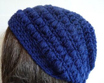 Crochet Slouchy Hat in Navy Blue, Dark Blue, Tam Beret