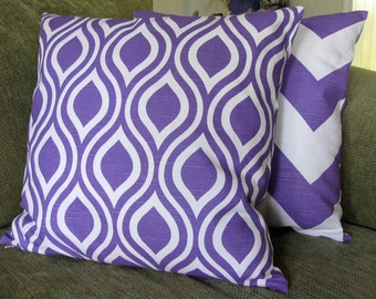 """Two Decorative Throw Pillow Cover Set, 18"""" x 18"""", Purple and White, Chevron and Geometric Prints"""