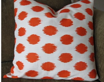 "Orange and White, One Decorative Throw Pillow Cover, 18"" x 18"", Zipper Closure"