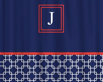 Custom Personalized Bonnie's Link Shower Curtain - Navy with white and coral orange accents - Available any colors and Other Accessories