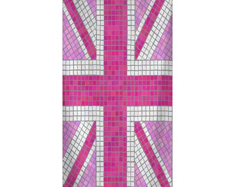 Custom Personalized Beach Towel -  Pink Union Jack- Color and Personalization of your choice