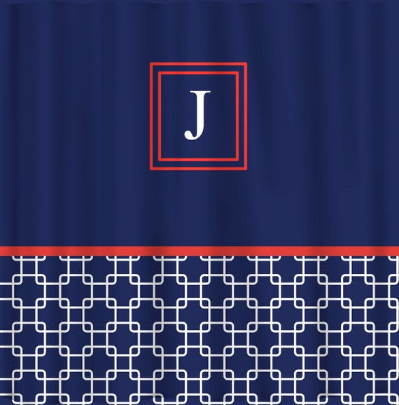 Custom Personalized Bonnie 39 S Link Shower Curtain Navy