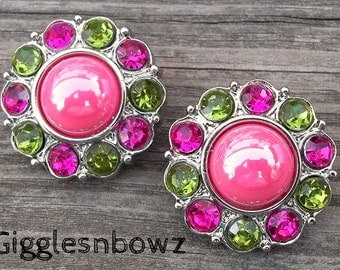 NEW Set of 2- SHiNY HoT PiNK Pearl with LiME GReeN and SHoCKiNG Pink Rhinestone Buttons 25mm