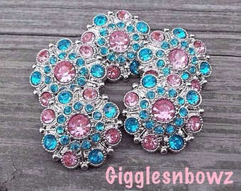 RHiNeSToNe BuTToNS- NEW Set of Five PiNK and TuRQUoiSe Acrylic Rhinestone Buttons 27mm
