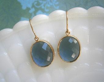 Clearance Sale, Jewelry Sale, Sapphire Earrings, Blue EArrings, Oval Glass, Gold Earrings, Bridesmaid Earrings, Best Friend Birthday