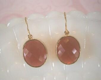 Clearance Sale, Jewelry Sale, Fuchsia Earrings, Oval Glass, Ruby Earrings, Gold Earrings, Christmas Gift, Wife Gift