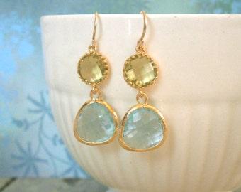 Apple Green Earriings, Aquamarine Earrings, Gold Earrings, Best Friend, Sister, Mother, Daughter, Birthday, Anniversary