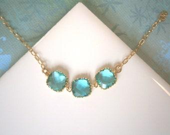 Teal Bracelet, Gold Bracelet, Teal Necklace, Gold Necklace